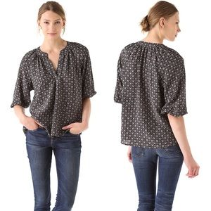 Joie | Addie B Gray Geometric Print Silk Blouse S